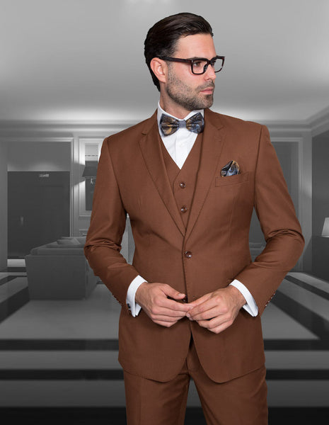 Statement Confidence - Men's Copper 2 Button Modern Fit Wool Suit - STZV100