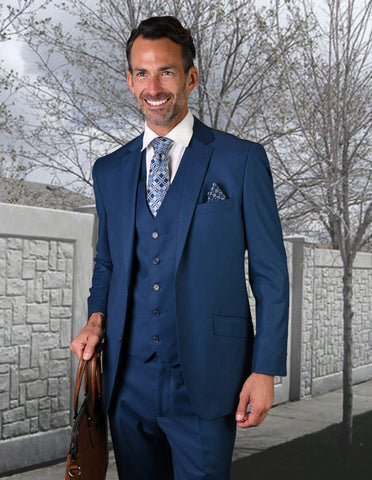 Statement Confidence - Men's French Blue 2 Button Modern Fit Wool Suit - STZV100