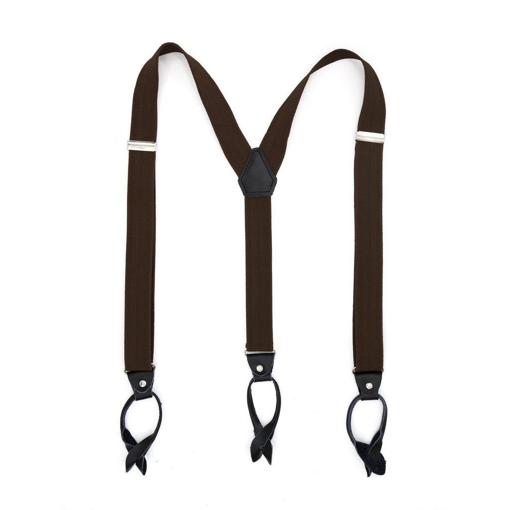 Dark Brown Blue Unisex Button End Suspenders - Ferrecci USA