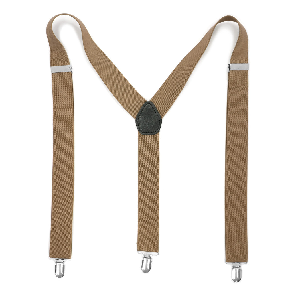 Light Brown Vintage Style Unisex Suspenders - Ferrecci USA