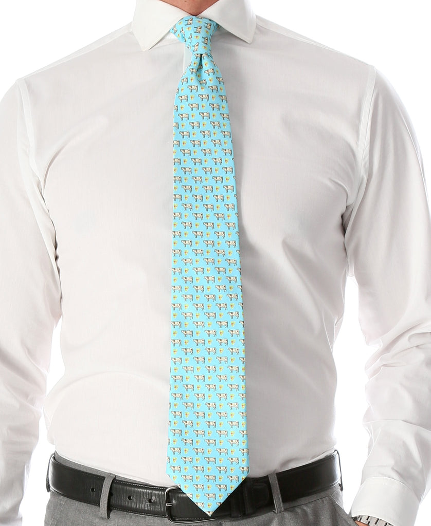 Cash Cow Aqua Necktie with Handkerchief Set - Ferrecci USA