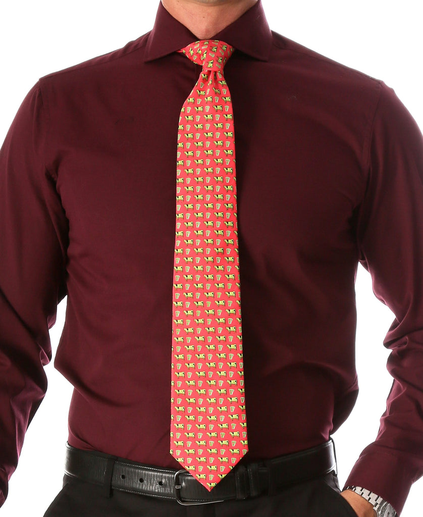 Cash Cow Coral Necktie with Handkerchief Set - Ferrecci USA
