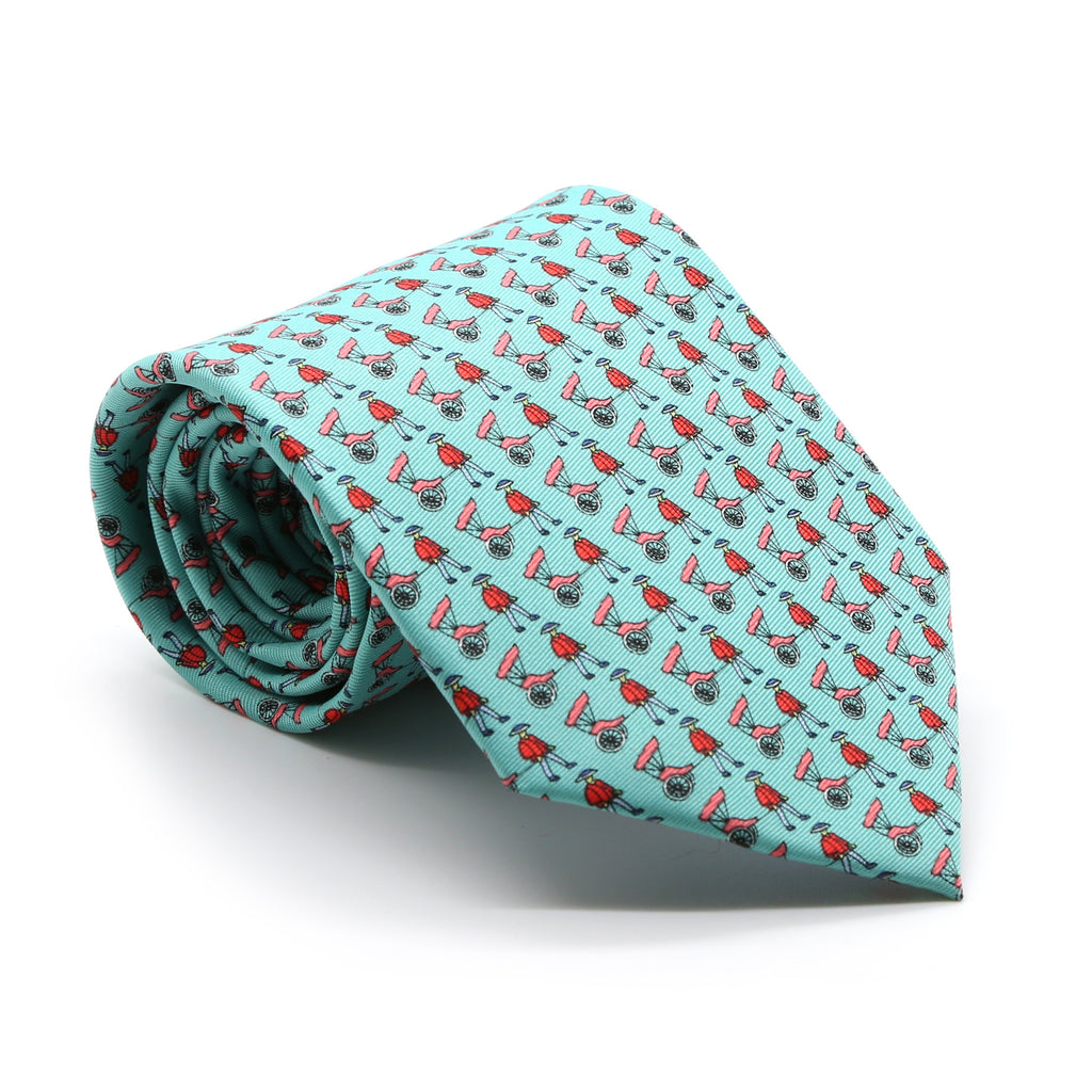 Carriage Driver Teal Necktie with Handkerchief Set - Ferrecci USA