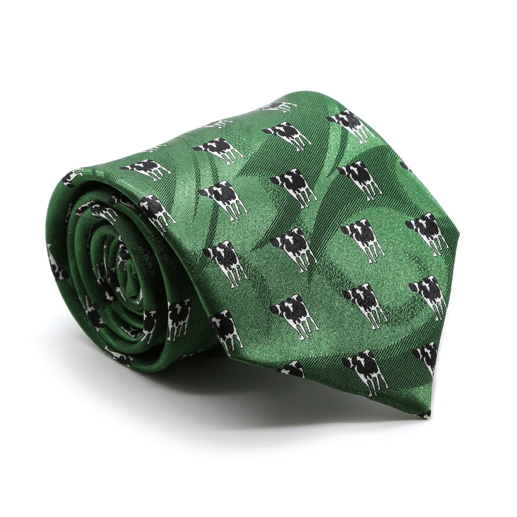 Cow Green Necktie with Handkerchief Set - Ferrecci USA