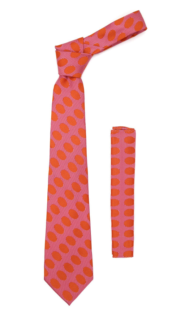 Red Orange Polkadot Stripe Necktie with Handkerchief Set - Ferrecci USA