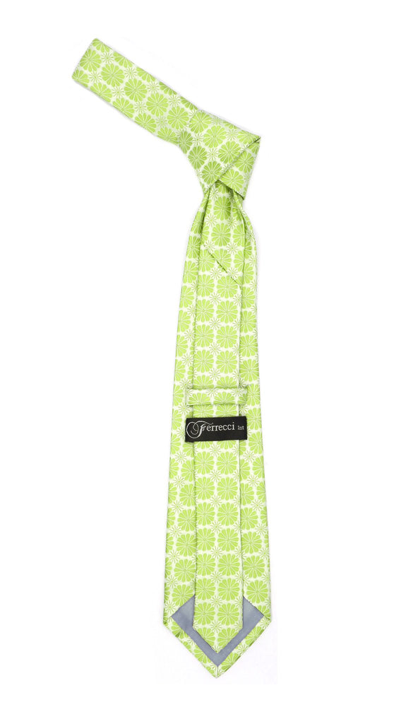 Floral Lime Green Necktie with Handkderchief Set - Ferrecci USA
