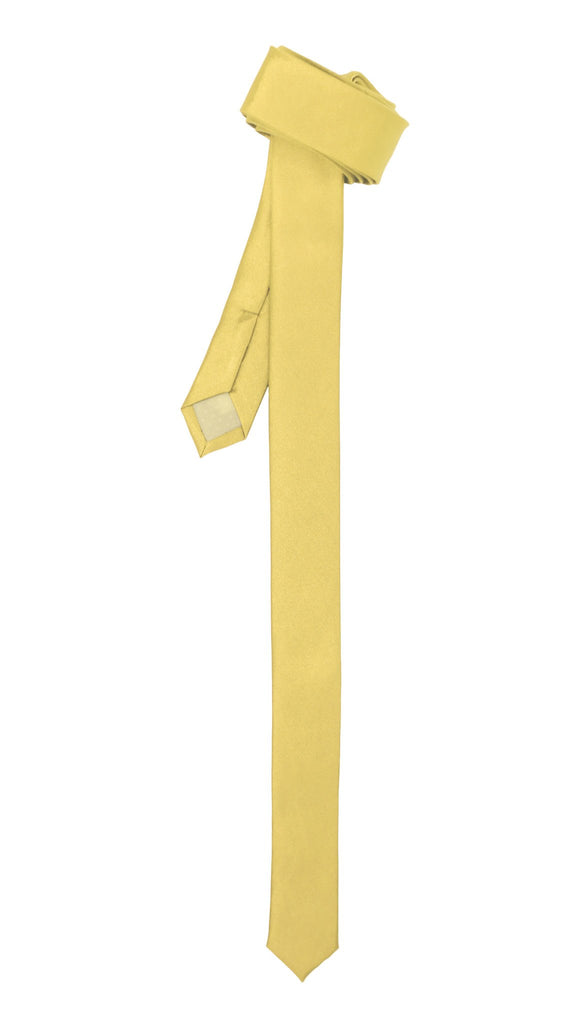 Super Skinny Light Yellow Shiny Slim Tie - Ferrecci USA