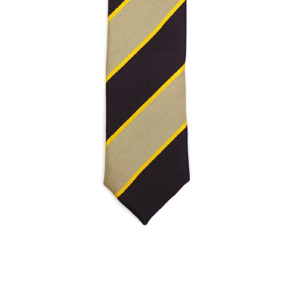 Super Skinny Stripe Beige Brown Slim Tie - Ferrecci USA