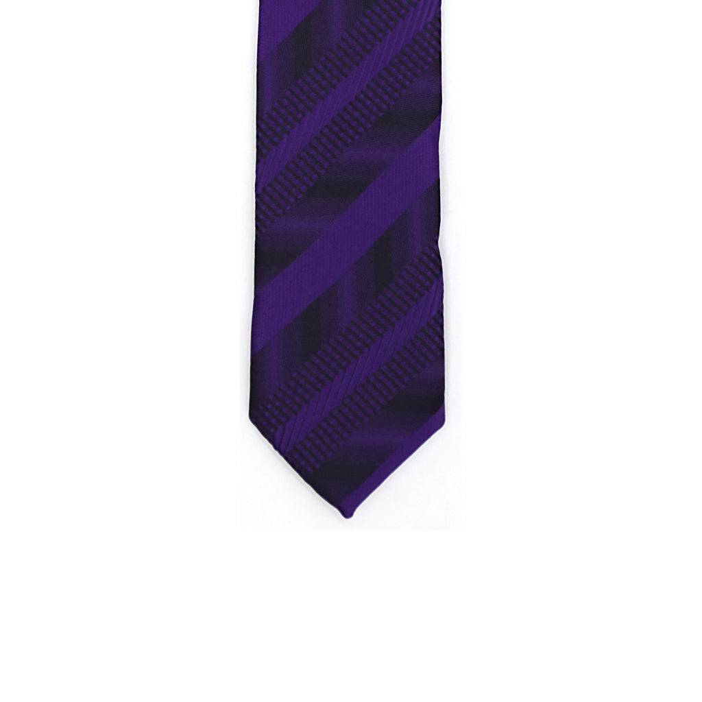 Super Skinny Stripe Purple Black Slim Tie - Ferrecci USA