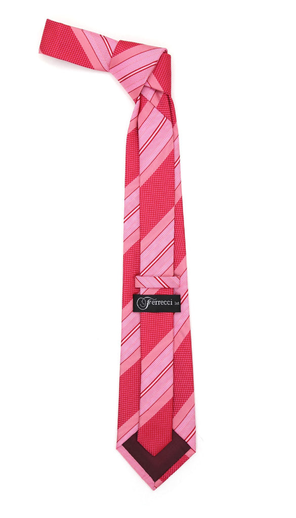 Microfiber Pink Striped Tie and Hankie Set - Ferrecci USA