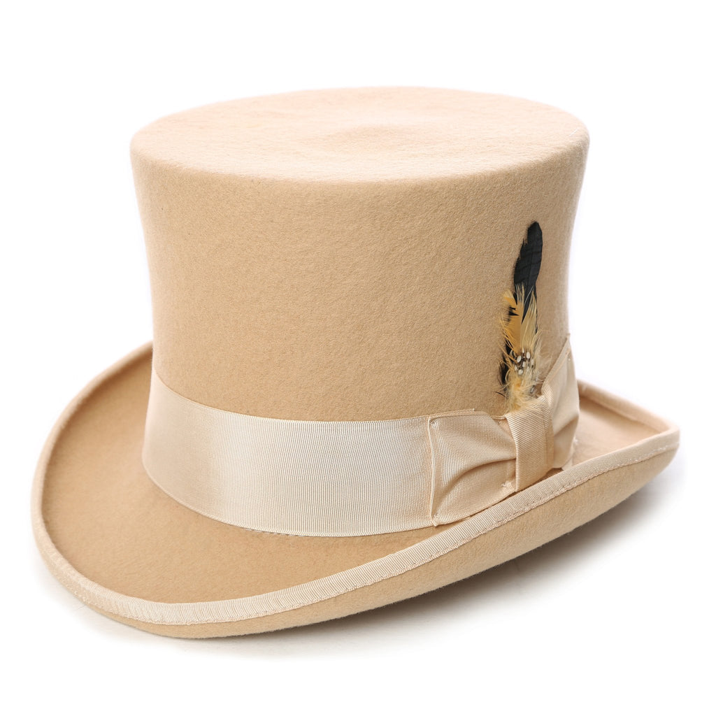 Premium Wool Beige Top Hat - Ferrecci USA
