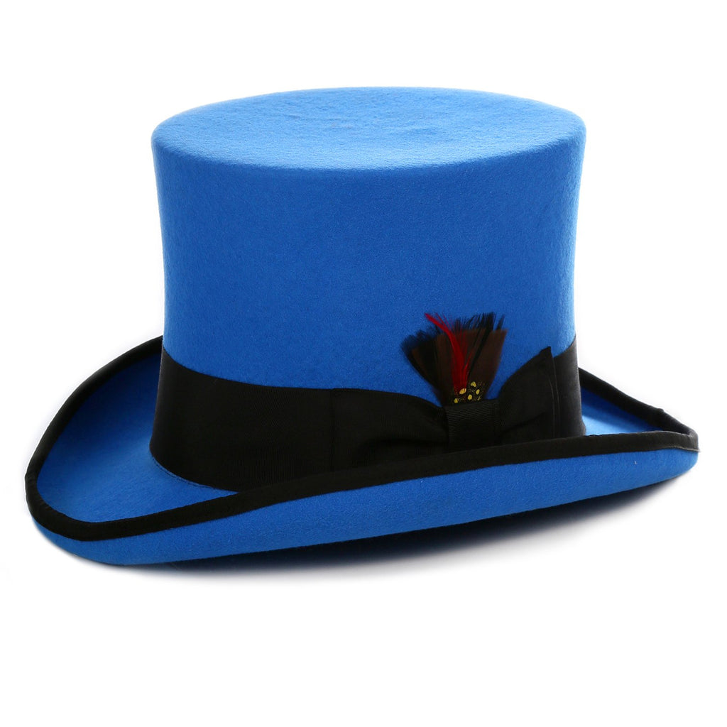 Ferrecci Royal Blue and Black Wool Felt Top Hat - Ferrecci USA
