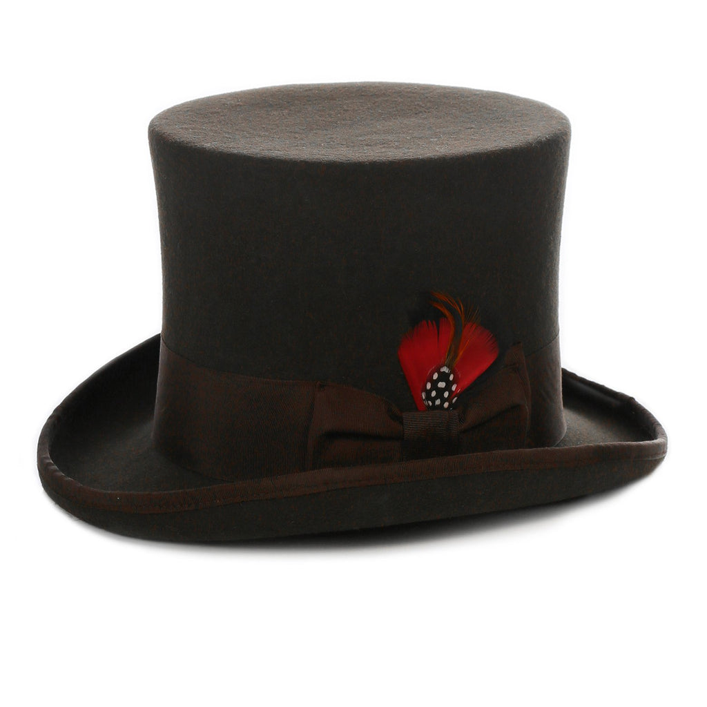Premium Wool Brown Victorian Classic Vintage Top Hat - Ferrecci USA