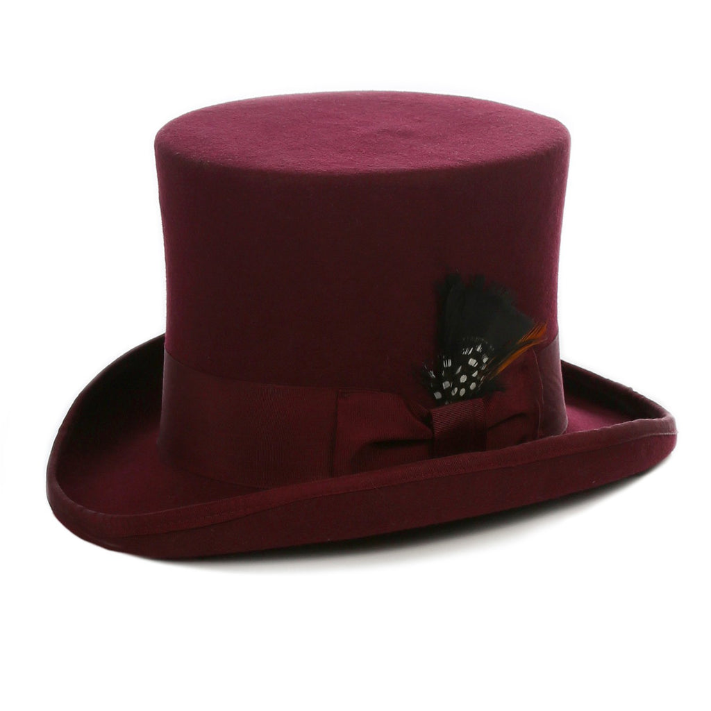 Premium Wool Burgundy Top Hat - Ferrecci USA