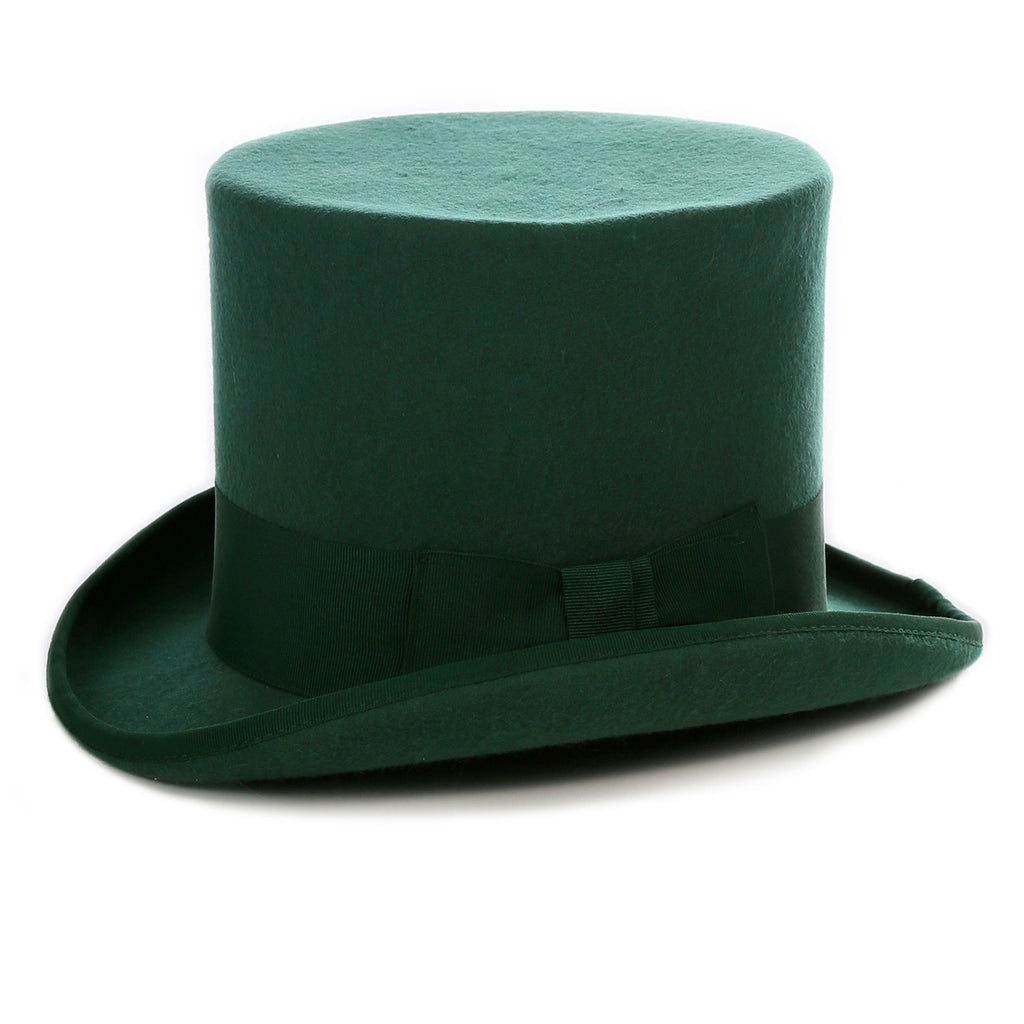 Premium Wool Hunter Green Top Hat - Ferrecci USA