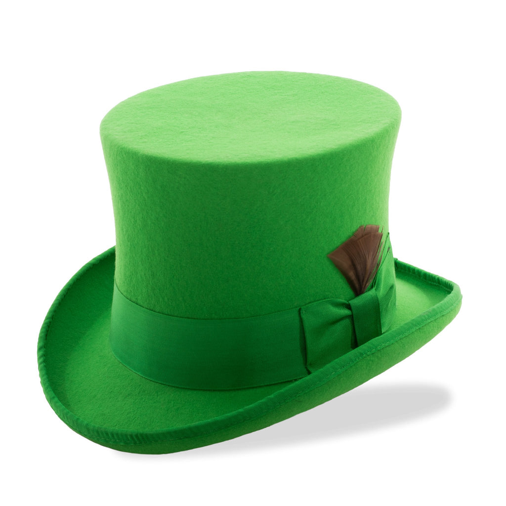 Premium Wool Kelly Green Top Hat - Ferrecci USA