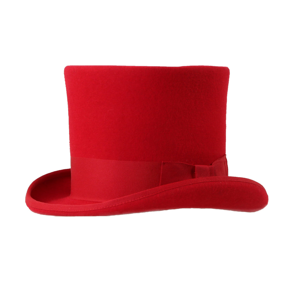 Premium Wool Red Top Hat - Ferrecci USA