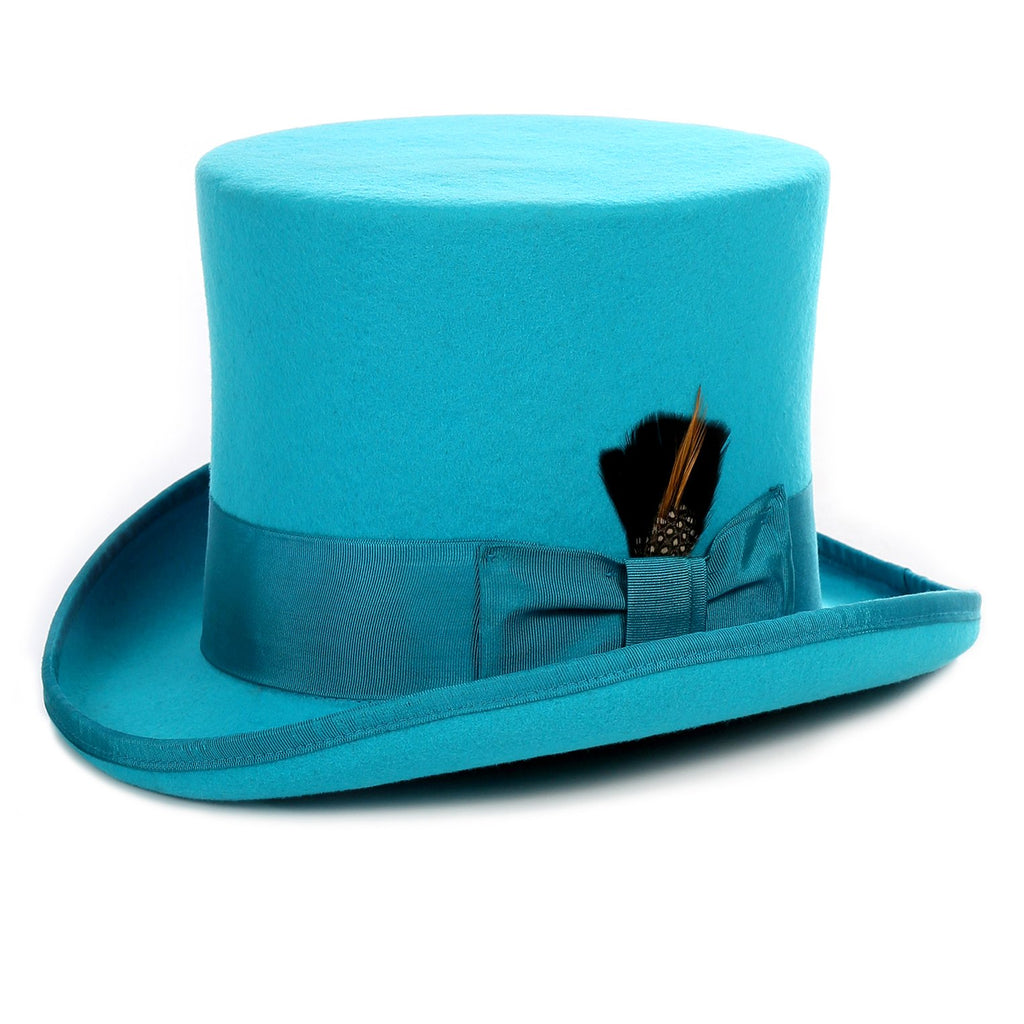 Premium Wool Turquoise Top Hat - Ferrecci USA