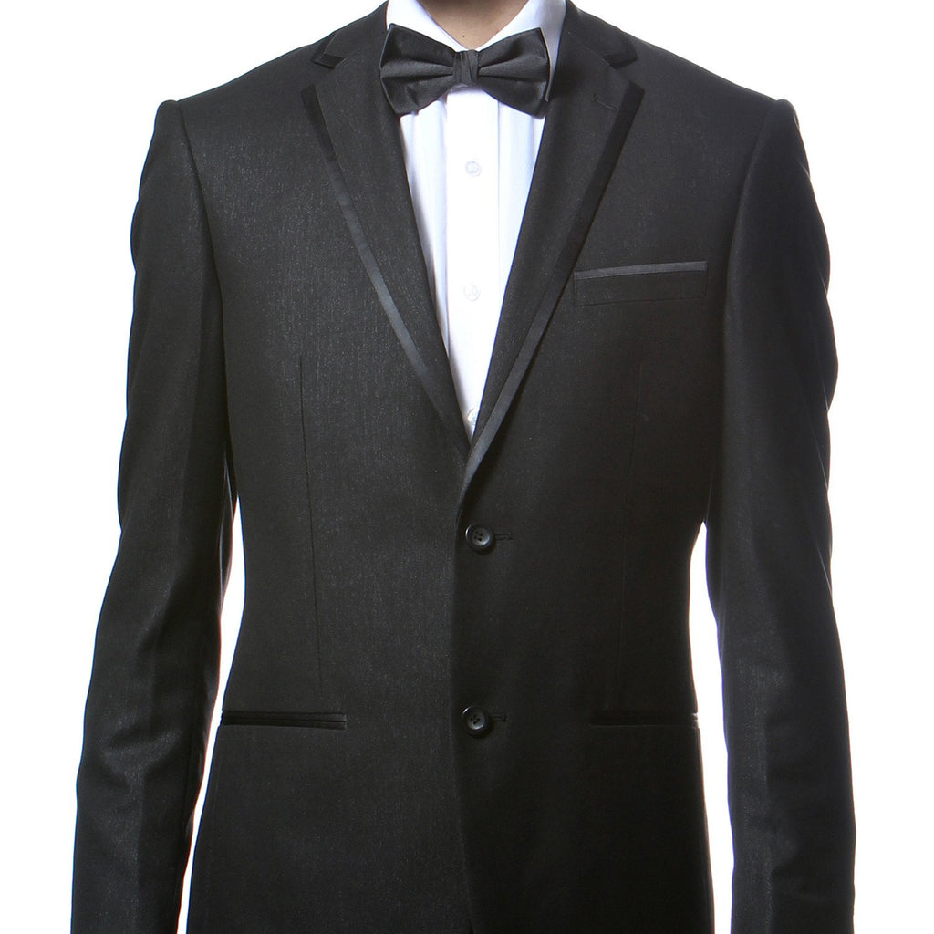 Celio Black Slim Fit Notch Lapel 2pc Tuxedo - Ferrecci USA