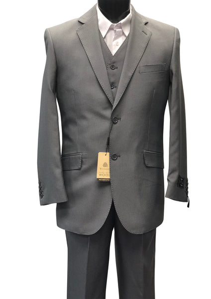 Tzarelli Mens 3 Piece Vest Taupe Suit-Size 38 Regular/32 Waist