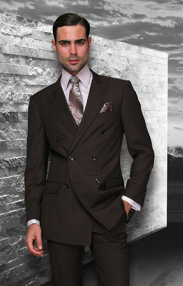 Tzarelli Brown Double Breasted Men's Wool Italian Design Suit - TZD100