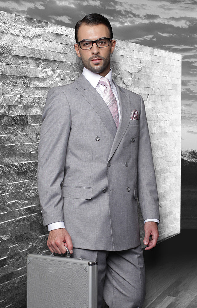 Tzarelli Grey Double Breasted Men's Wool Italian Design Suit - TZD100
