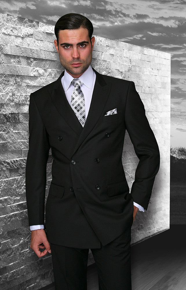 Tzarelli Black Double Breasted Men's Wool Italian Design Suit - TZD100