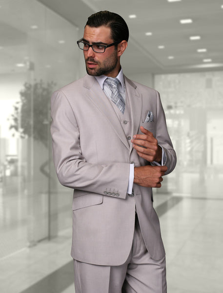 Tzarelli - Statement Confidence - Men's Ash Grey 2 Button Modern Fit Wool Suit - STZV100