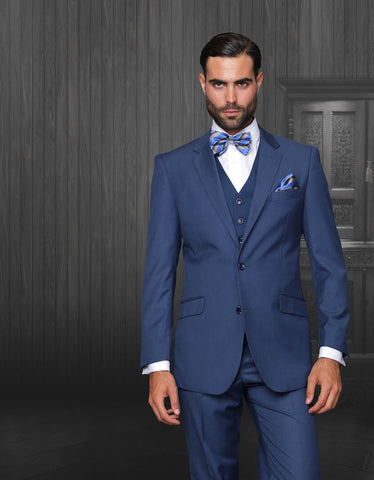 1 Like No Other Slim-Fit Wool Three-Peice Suit, Blue