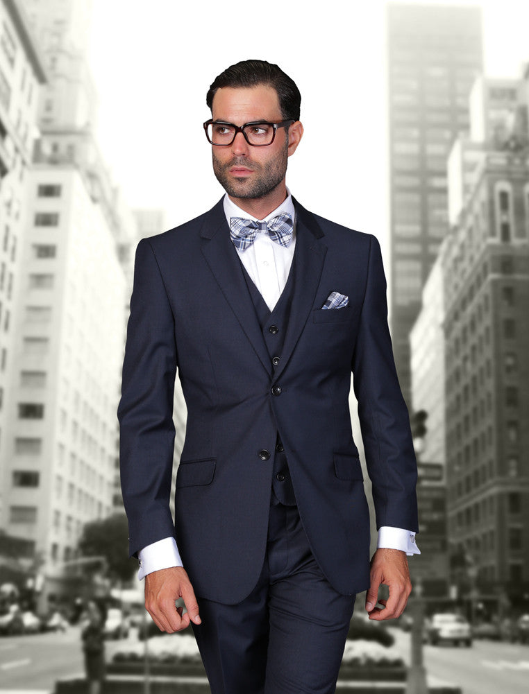 Statement Confidence - Men's Navy Blue 2 Button Modern Fit Wool Suit - STZV100