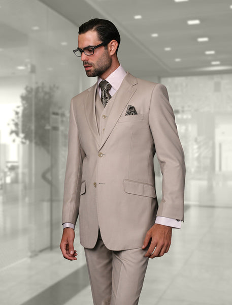 Statement Confidence - Men's Sand 2 Button Modern Fit Wool Suit - STZV100