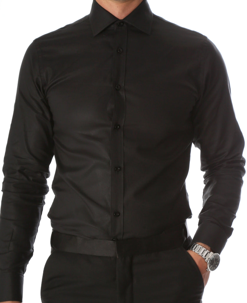 Ferrecci Men's Black Venice Slim Fit Pique Lay Down Collar Shirt - Ferrecci USA