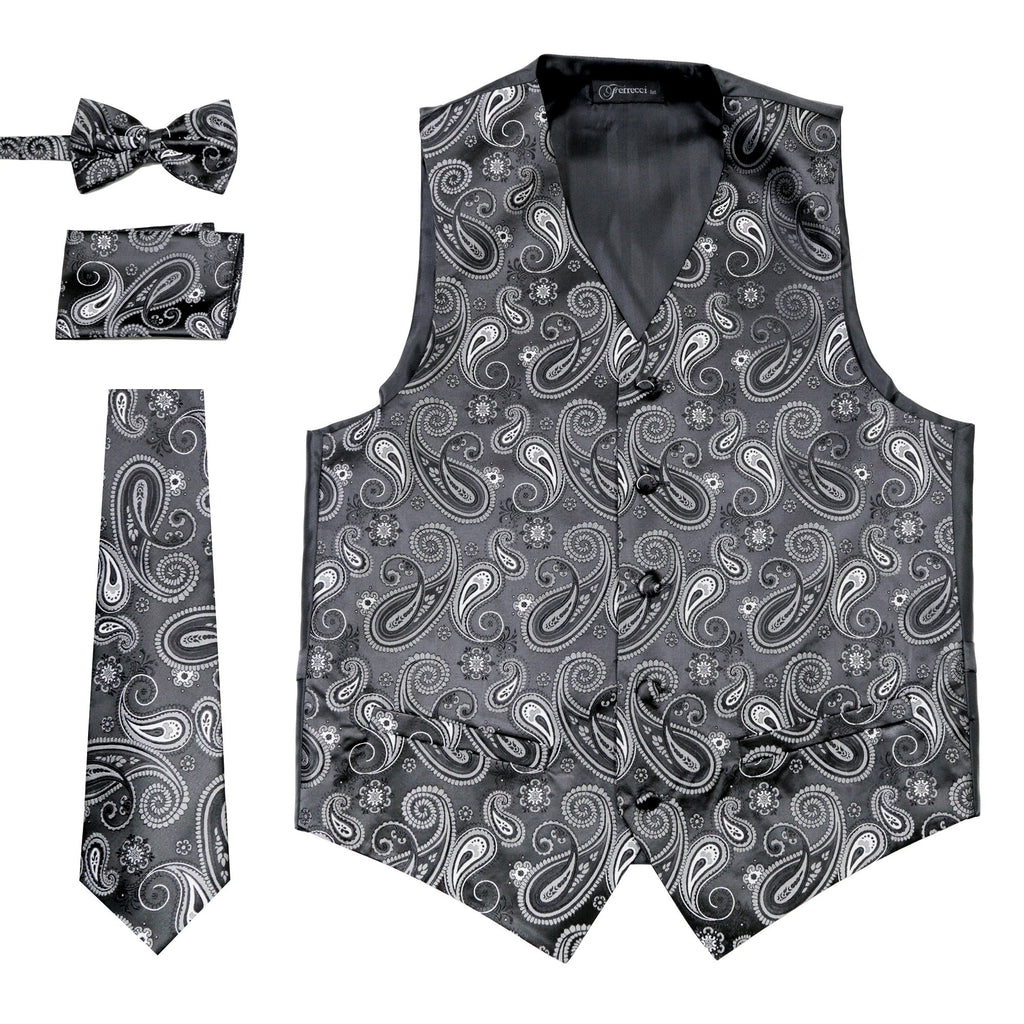 Ferrecci Mens Silver/Black Paisley Wedding Prom Grad Choir Band 4pc Vest Set - Ferrecci USA