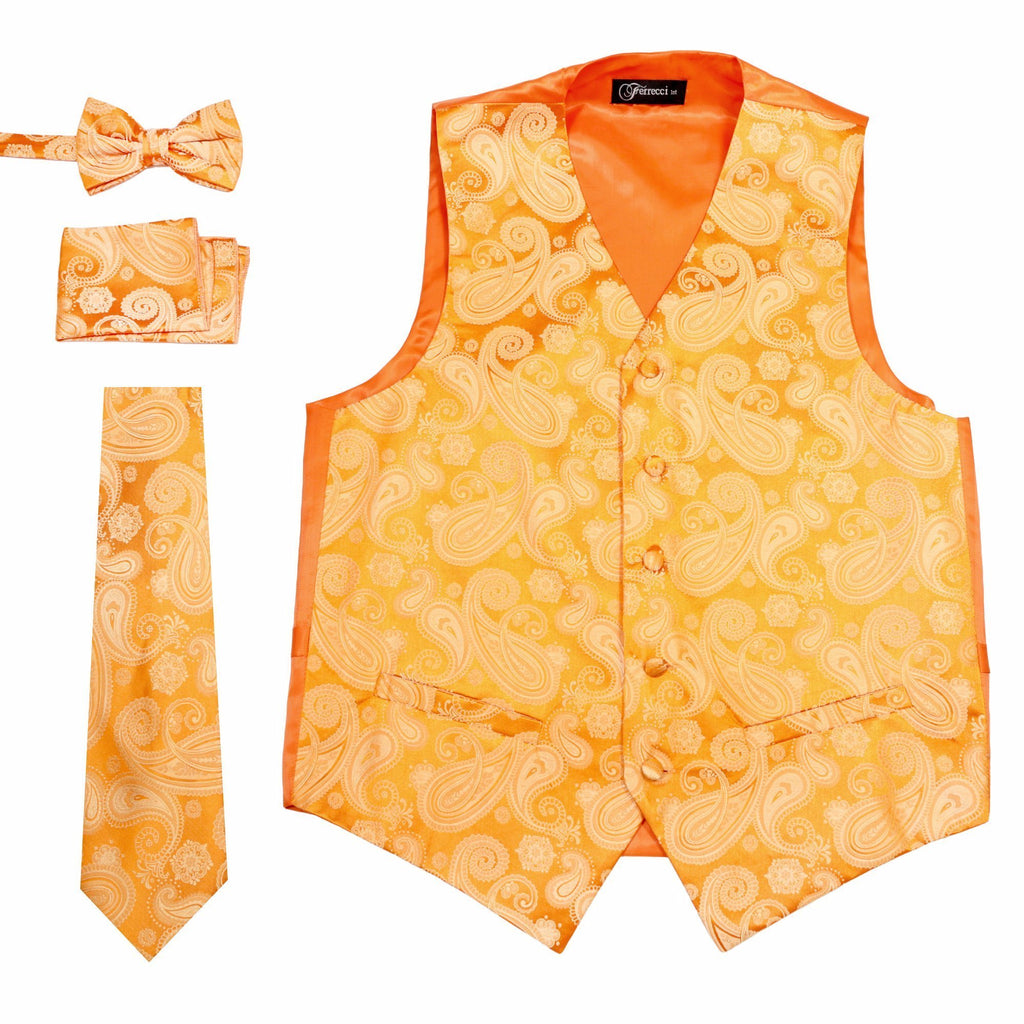 Ferrecci Mens Orange/Orange Paisley Wedding Prom Grad Choir Band 4pc Vest Set - Ferrecci USA