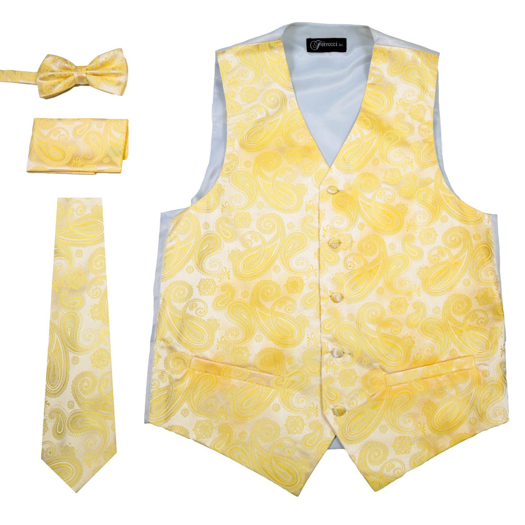 Ferrecci Mens Yellow Paisley Wedding Prom Grad Choir Band 4pc Vest Set - Ferrecci USA
