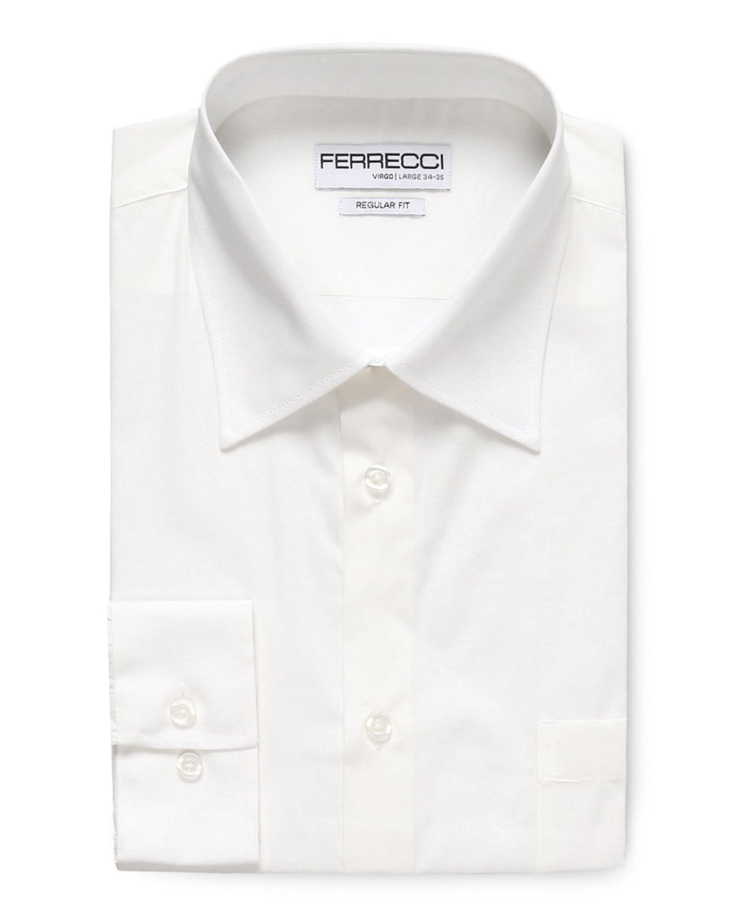 Virgo White Regular Fit Dress Shirt - Ferrecci USA