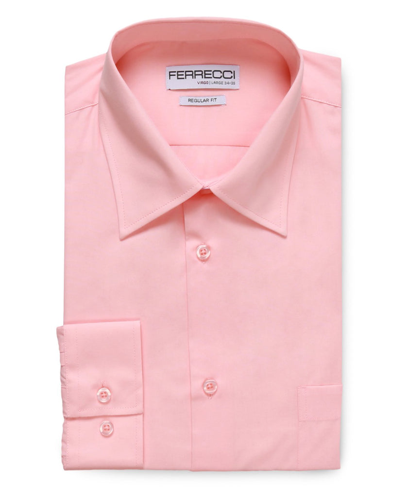 Virgo Pink Regular Fit Dress Shirt - Ferrecci USA