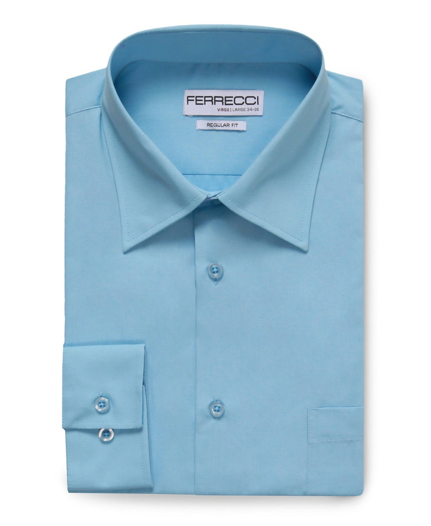 Virgo Sky Blue Regular Fit Dress Shirt - Ferrecci USA