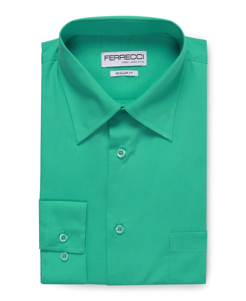 Virgo Turquoise Green Regular Fit Dress Shirt - Ferrecci USA