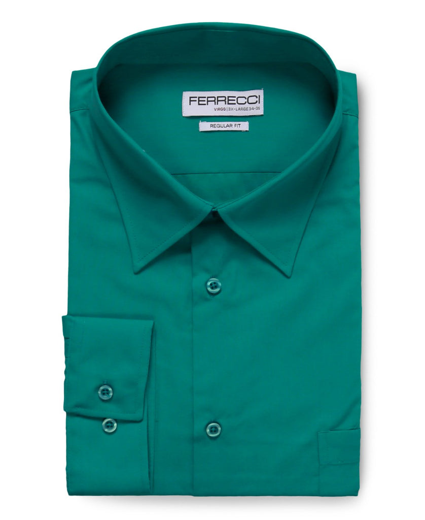 Virgo Teal Regular Fit Dress Shirt - Ferrecci USA