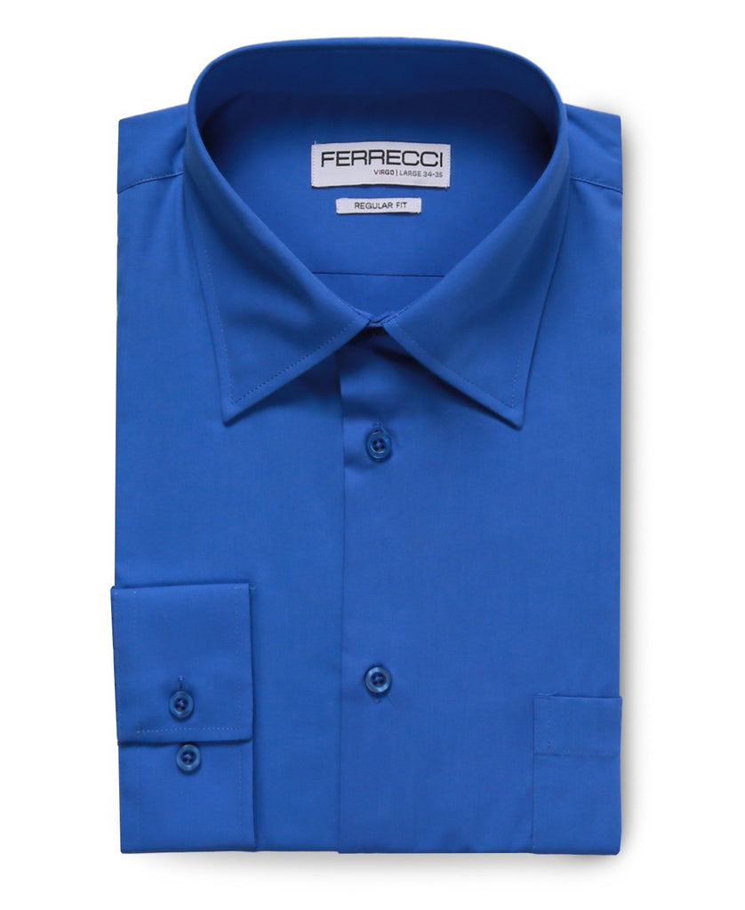 Virgo Royal Blue Regular Fit Dress Shirt - Ferrecci USA