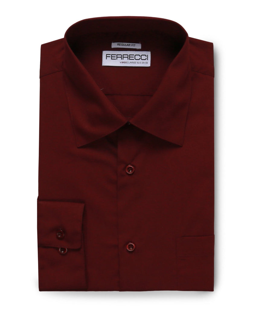 Virgo Burgundy Regular Fit Dress Shirt - Ferrecci USA