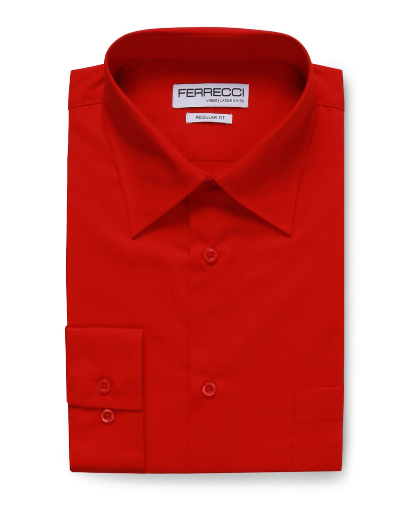 Virgo Red Regular Fit Dress Shirt - Ferrecci USA