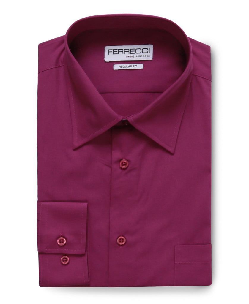 Virgo Purple Regular Fit Dress Shirt - Ferrecci USA