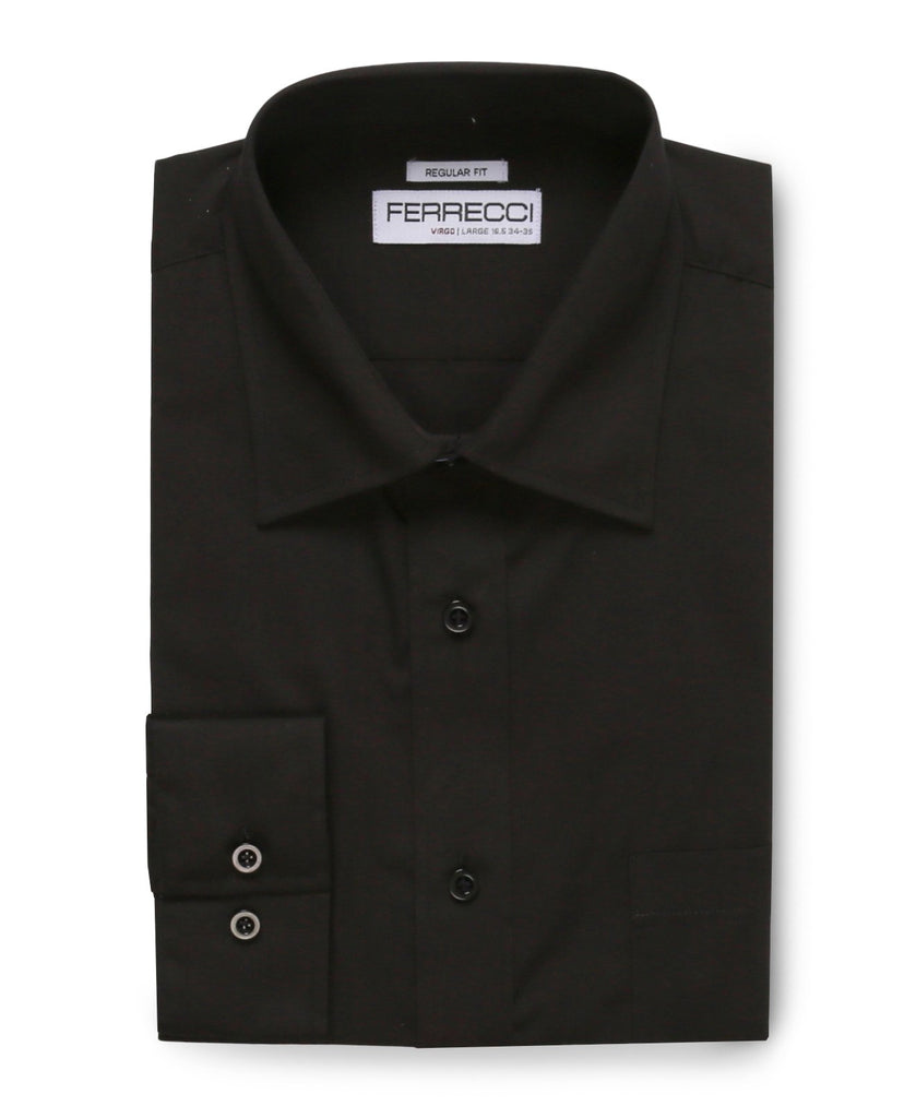 Virgo Black Regular Fit Dress Shirt - Ferrecci USA