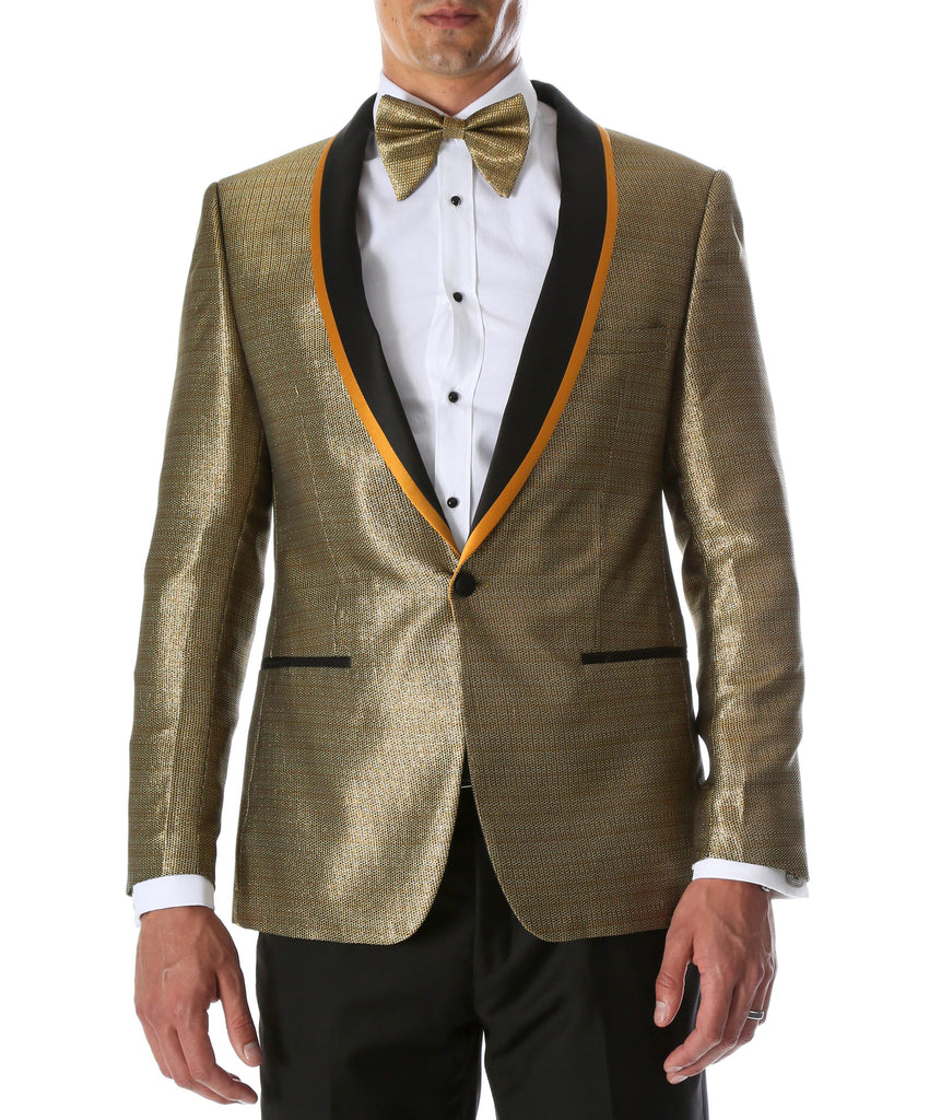 Men's Webber Black & Gold Modern Fit Shawl Collar Tuxedo Blazer - Young Man's Prom Wear - Ferrecci USA