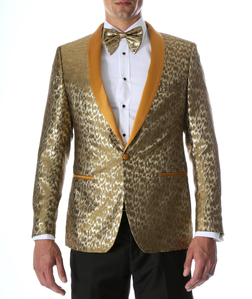 Men's Webber Gold Modern Fit Shawl Collar Tuxedo Blazer - Young Man's Prom Wear - Ferrecci USA