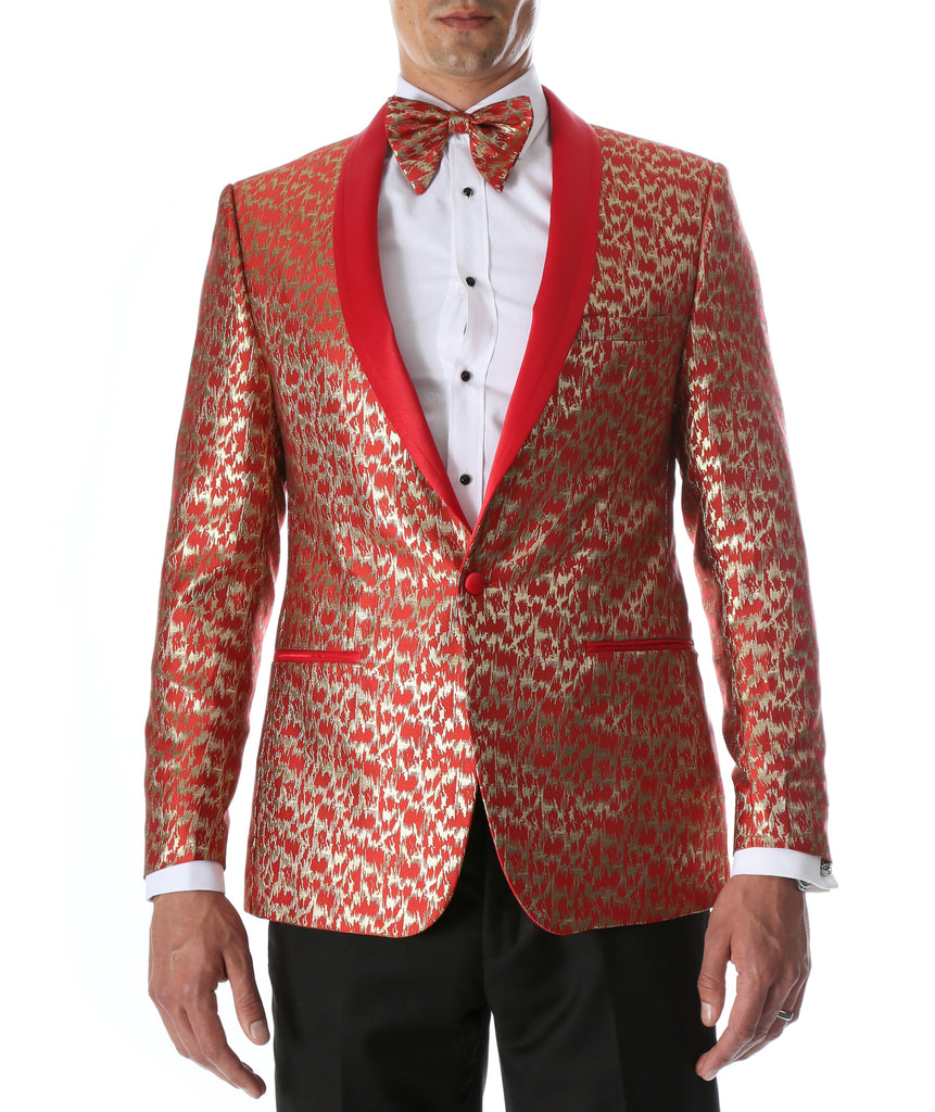Men's Webber Red Modern Fit Shawl Collar Tuxedo Blazer - Ferrecci USA