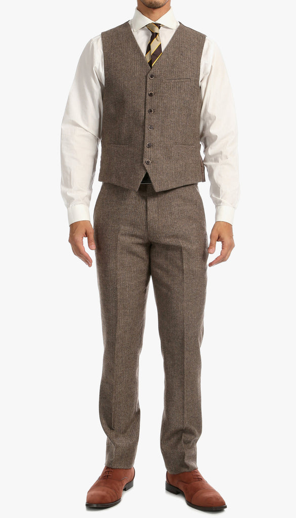 Ferrecci Brown Herringbone Notch Lapel Three Pcs Two Botton Slim Fit Suit. - Ferrecci USA