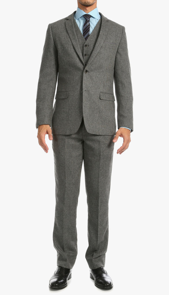 York Grey Slim Fit 3pc Herringbone Suit - Ferrecci USA